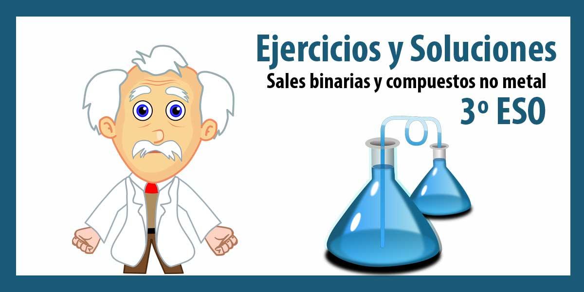 Ejercicios sobre FORMULACIÓN QUÍMICA: Sales binarias y compuestos no metal